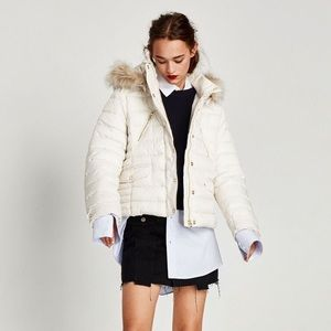 ZARA - white puffer coat, size Small